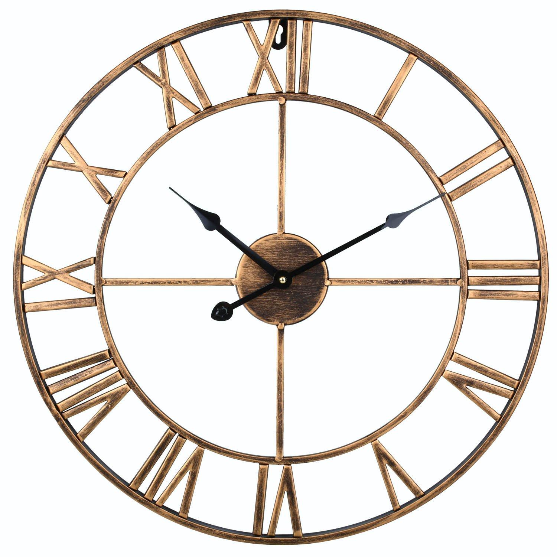SOLEDI Reloj de Pared Vintage Retro Europeo Con Manecillas de Hierro en 3D Color Dorado: Amazon.es: Hogar