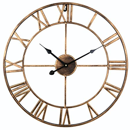 Soledi Vintage Clock European Retro Handmade Iron 3D Decorative Wall Clock  (Gold)