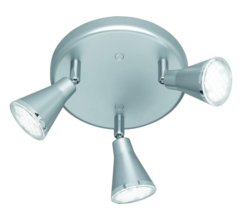 Reality Leuchten LED Spot Deckenlampe Kunstoff titanfarben, 3 x 5 W SMD-LED, 240 lumen, 3000 K, Durchmesser 21 cm R82713187