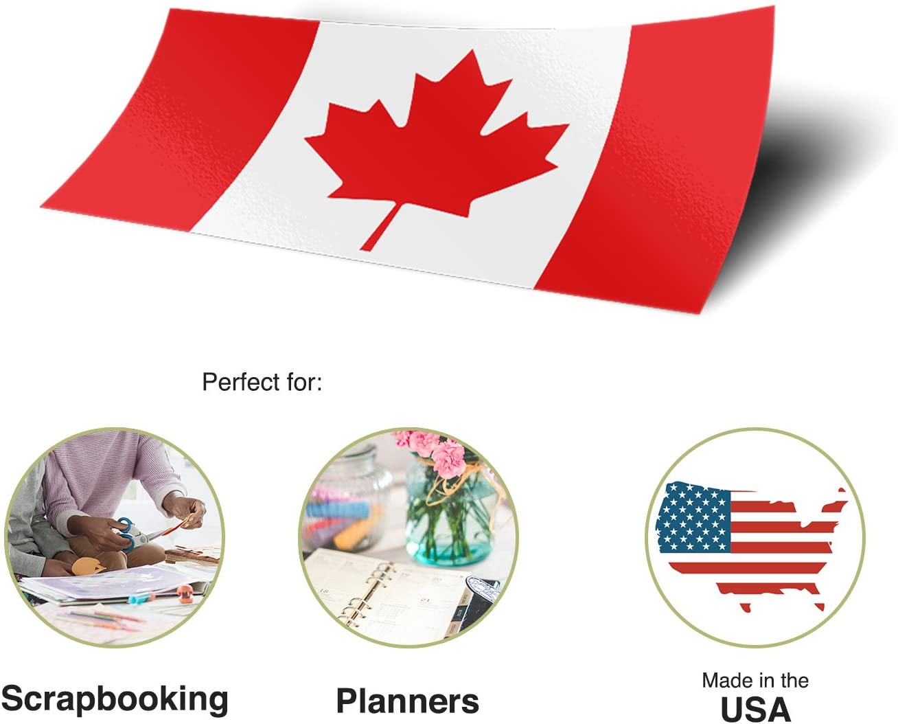 Desert Cactus Canada Canadian Country Flag Sticker Decal 1 Inch Rectangle Two Sheets 50 Total Pieces Kids Logo Scrapbook Car Vinyl Window Bumper Laptop R