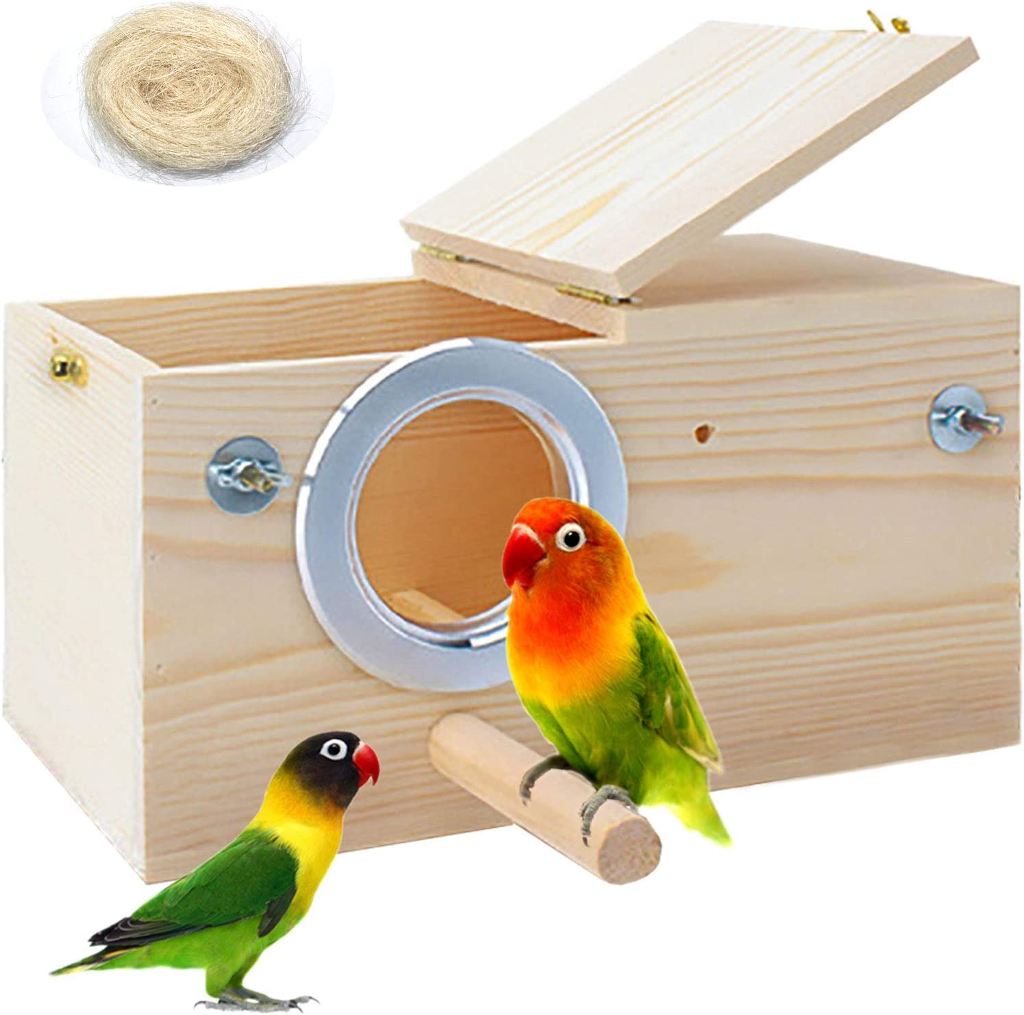 PINVNBY Parakeet Nesting Box Bird House Wood Breeding Box Parrots Mating Box for Lovebirds,Cockatoo,Budgie, Finch,Canary and Medium-Sized Birds