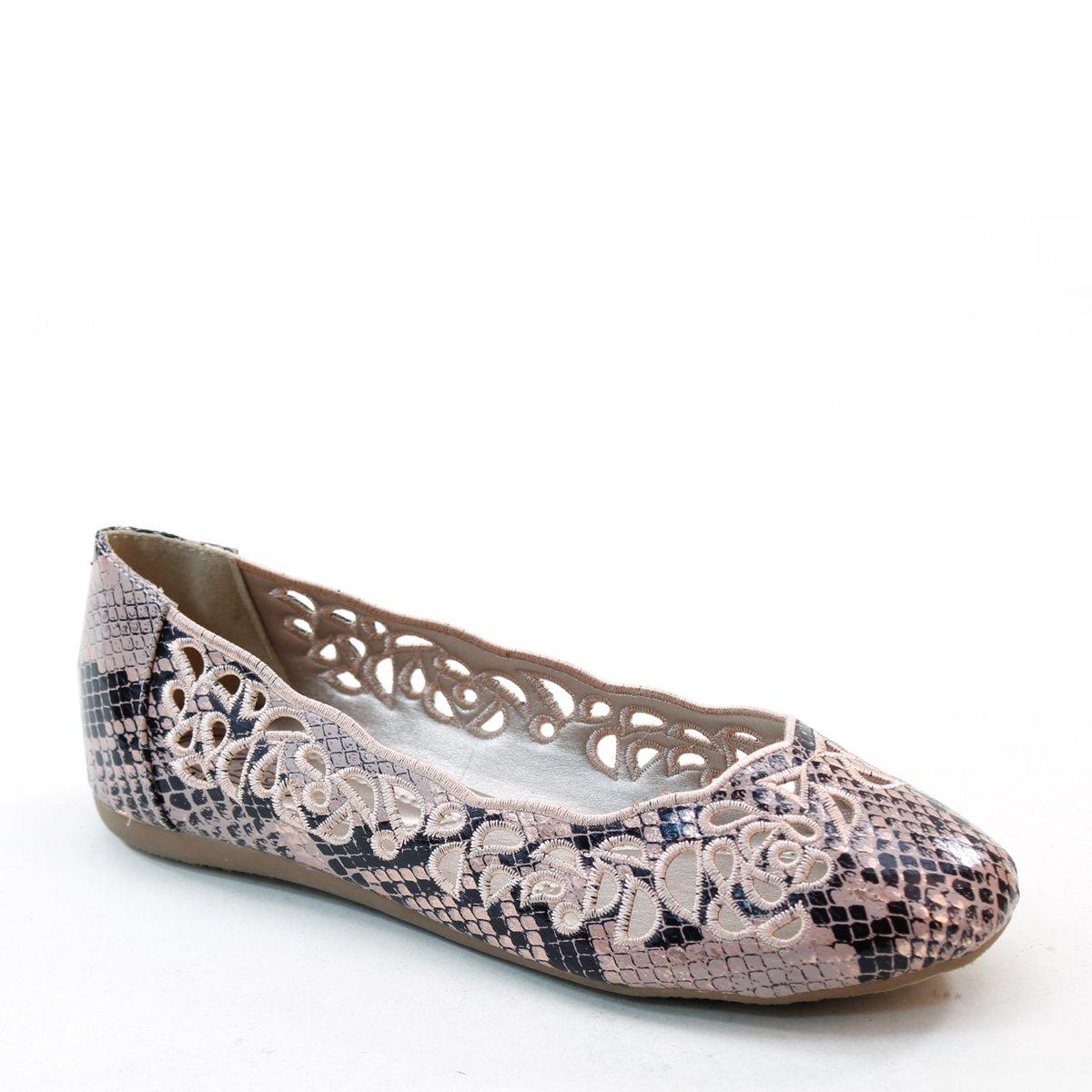 Brand New Brieten Women's Hollow Flower Snake Skin Pattern Style Round Toe Flats B00WSDFU8E 9 B(M) US|Peach