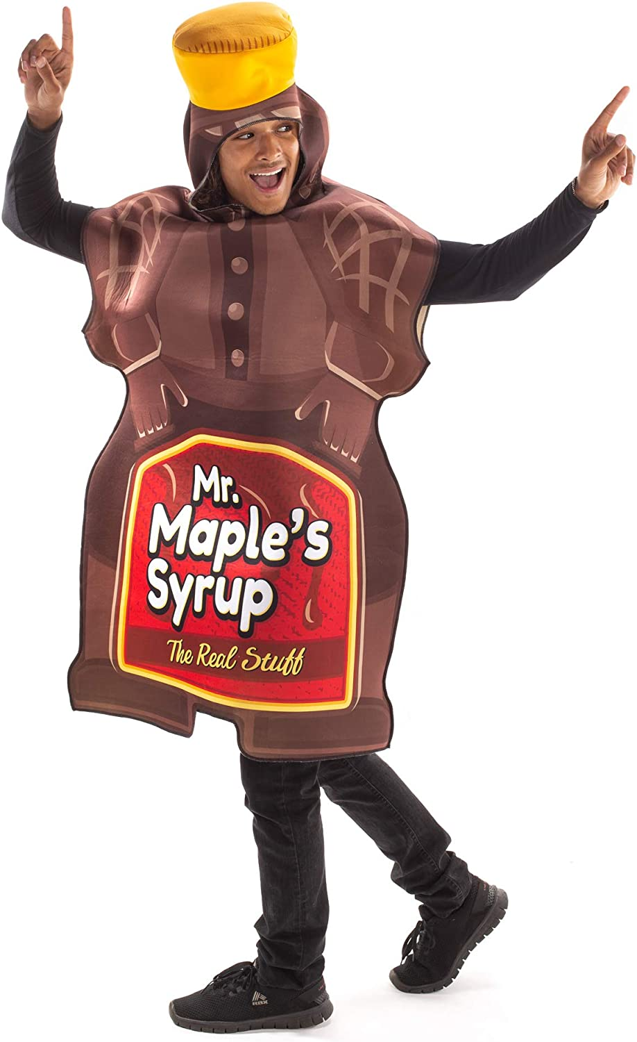 Mr. Maple Syrup Bottle Halloween Costume - Funny Adult Breakfast Food Body Suit