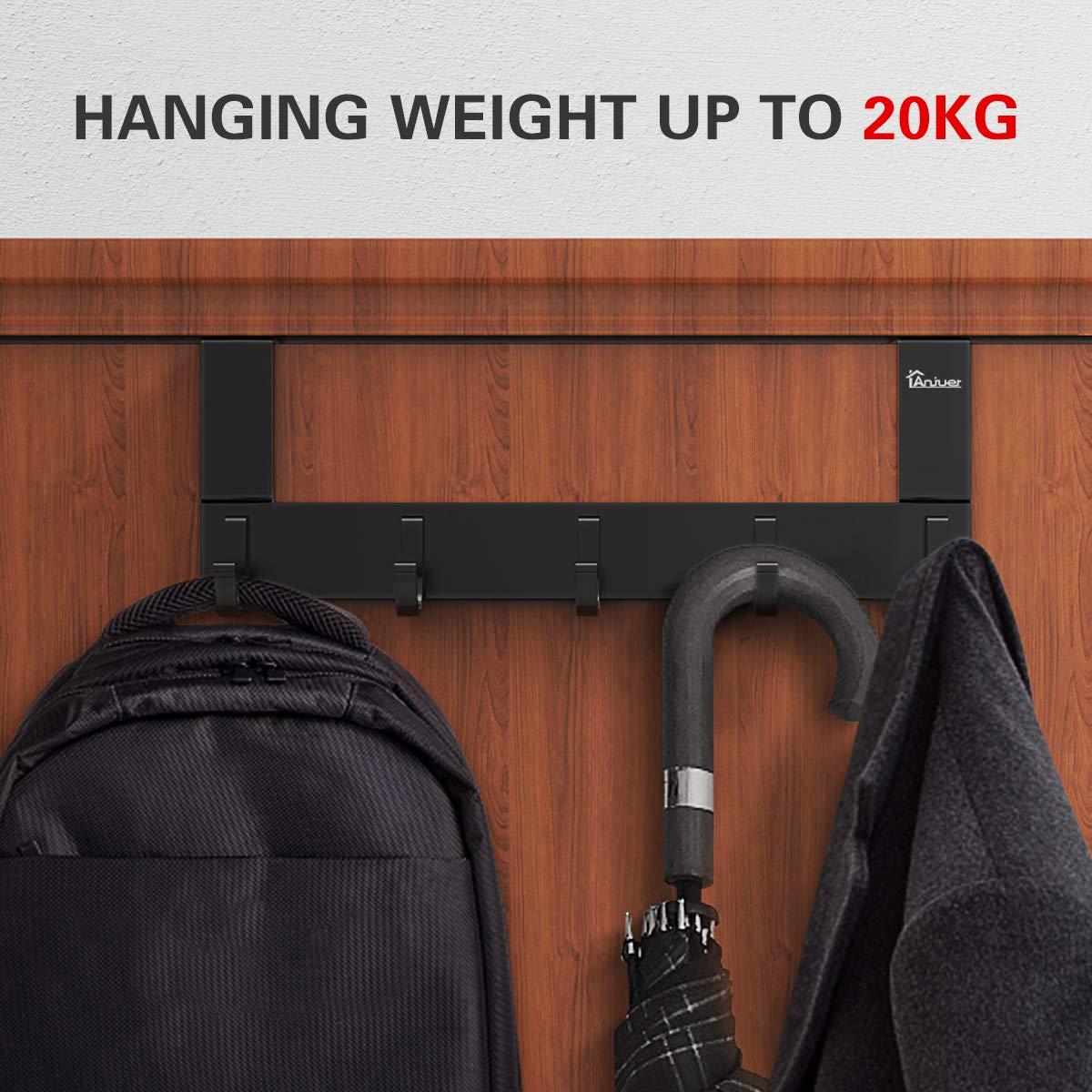 Anjuer Coat Hanger Clothes Rack 6 Hooks Heavy Duty Clothes Hat Holder Aluminum Alloy Black