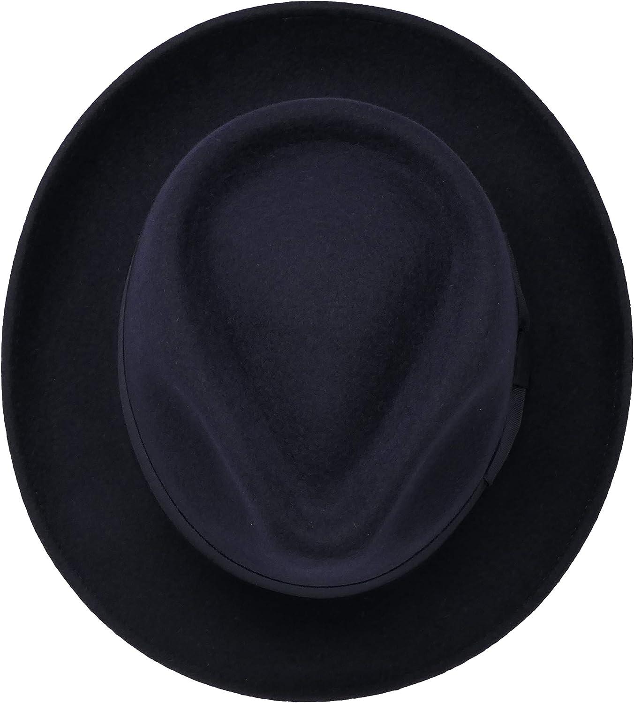B/&S Premium Doyle R/ésistant /à leau 100/% Feutre de Laine Pliable pour partir en Voyage Chapeau Fedora Unisexe