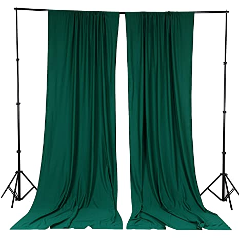 Balsacircle 10 Ft X 10 Ft Hunter Green Polyester Photography Backdrop Drapes Curtains Panels Wedding Decorations Home Party Reception Supplies