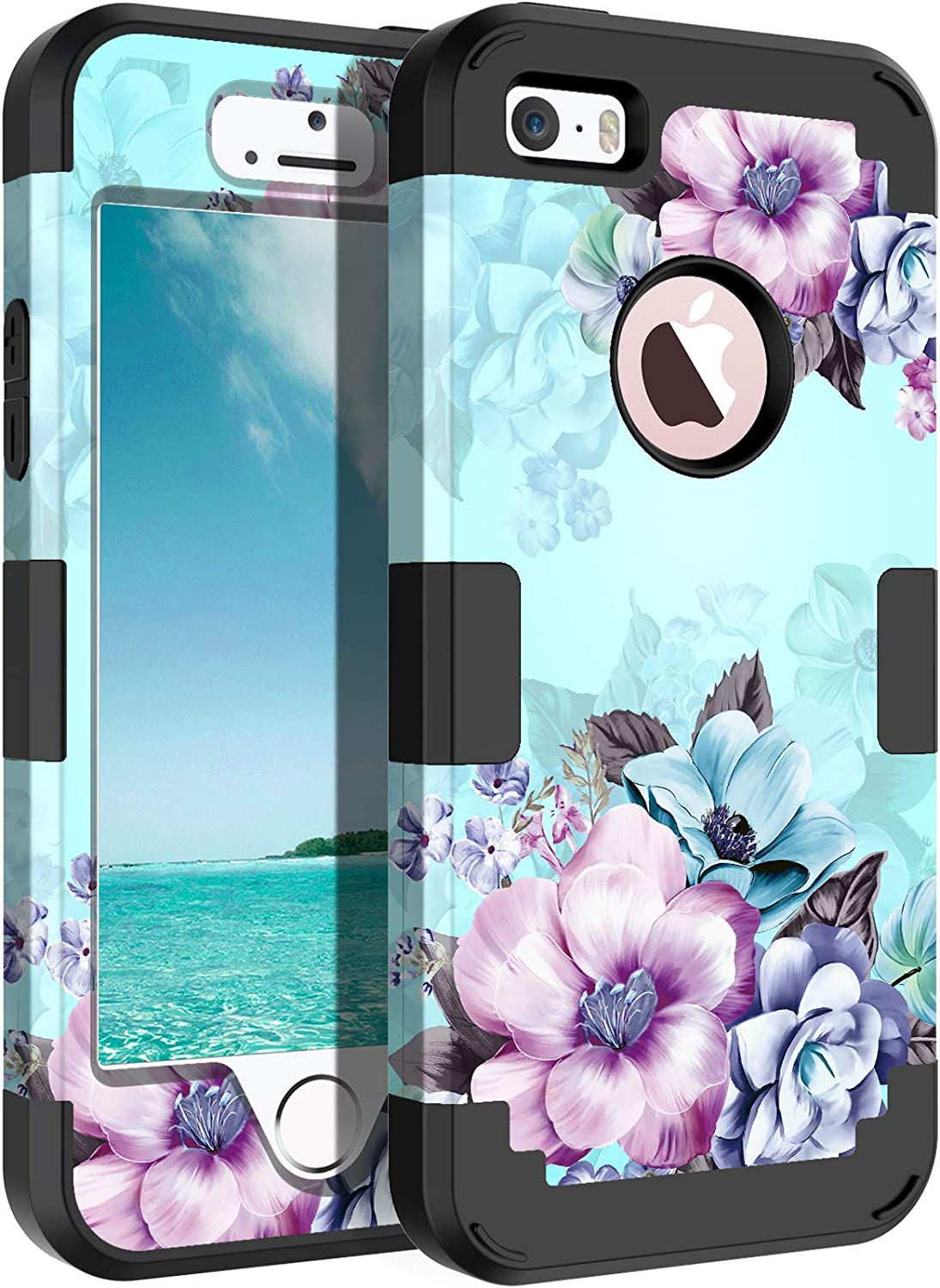 Casetego Compatible with iPhone 5 5S SE Case,Floral Three Layer Heavy Duty Hybrid Sturdy Shockproof Full Body Protective Cover Case for Apple iPhone 5 5S SE,Blue Flower