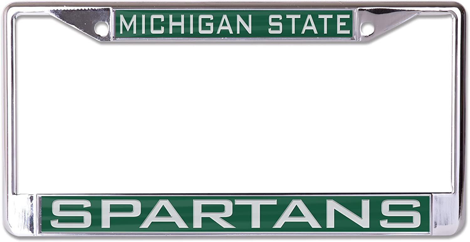 WinCraft NCAA Michigan State Spartans Inlaid Metal License Plate Frame 2-Tag Corners