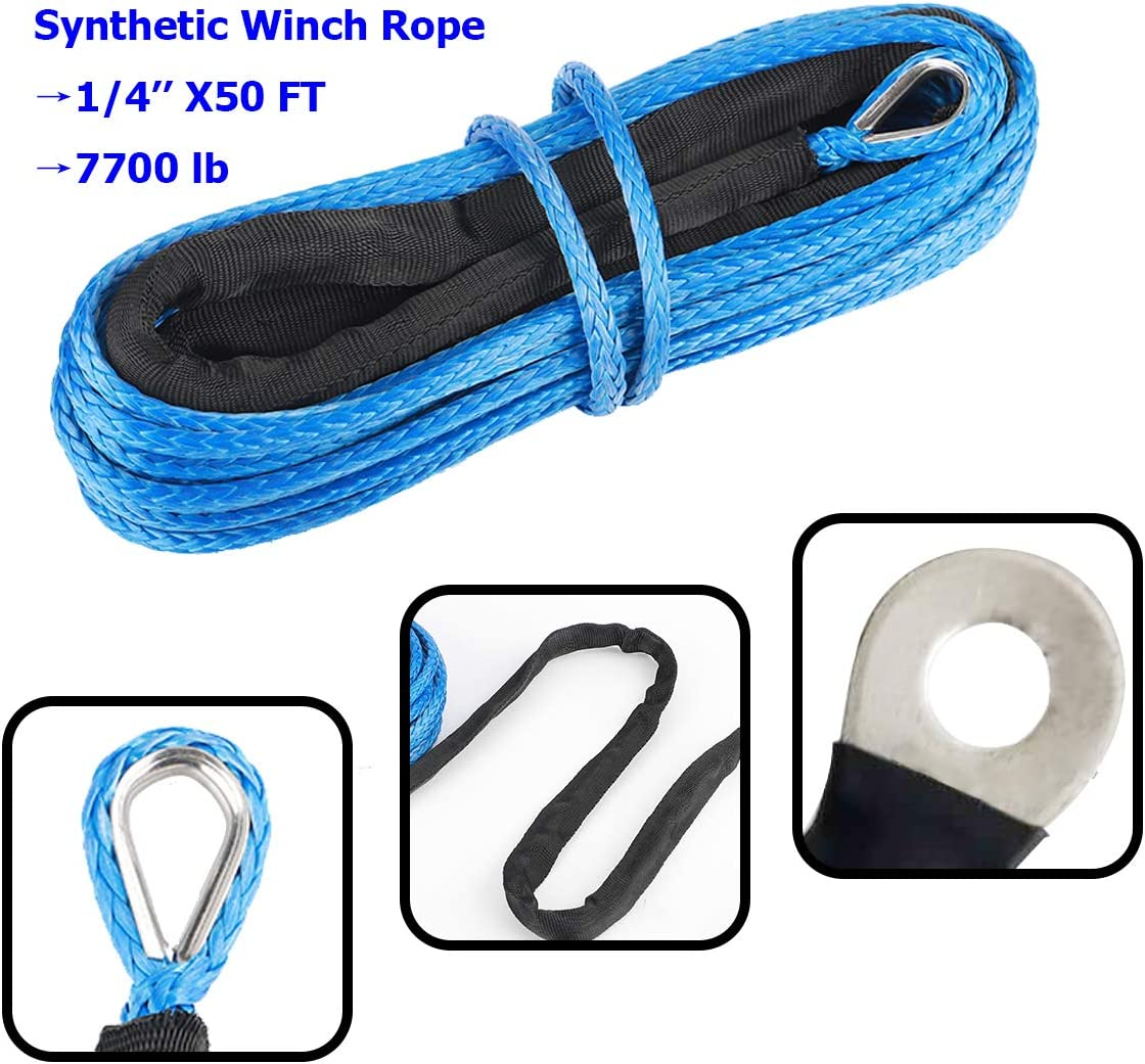5700LBs Lab Tested EOTH 3//16 x 50 Synthetic Winch Rope Line Cable with Black Protecing Sleeve for ATV UTV