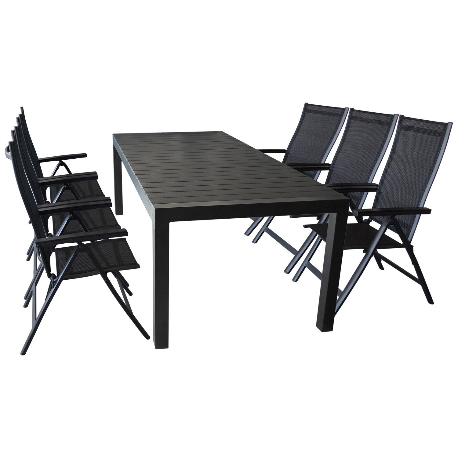 elegante gartengarnitur sitzgruppe gartenm bel terrassenm bel set 7 teilig ausziehtisch 224. Black Bedroom Furniture Sets. Home Design Ideas