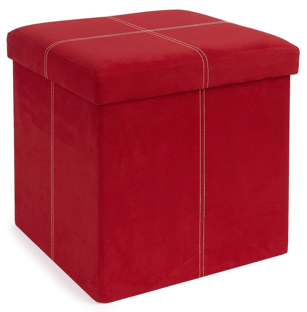 The FHE Group Micro Suede Folding Storage Ottoman, 15 by 15 by 15-Inch, Red 250049-008