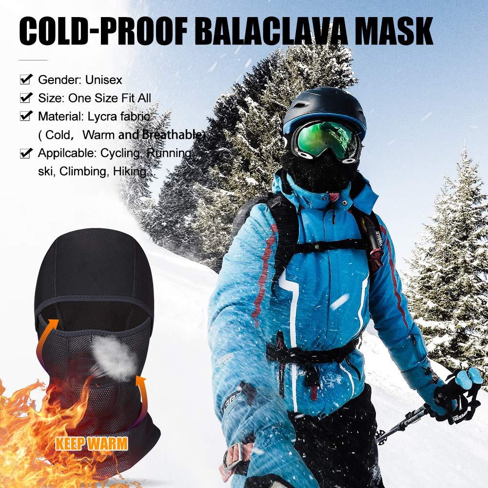 Passamontagna Maschera da Sci Traspirante Balaclava Antivento Maschera Caldo per Invernale Sci Pattinare Moto Bicicletta.