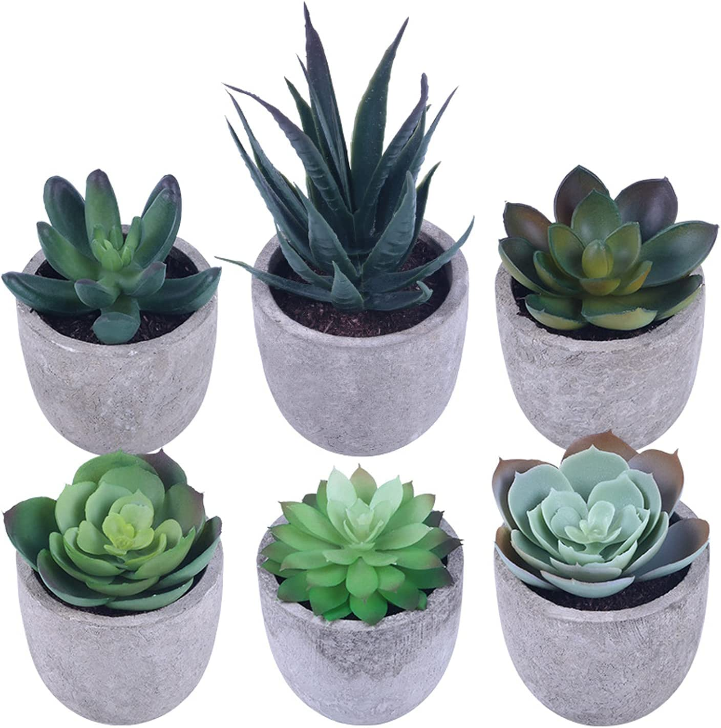 Succulents Plants Artificial, Mini Fake Plants in Pots Faux Succulents Plants Potted for Home Bedroom Room Office Decor, Set of 6