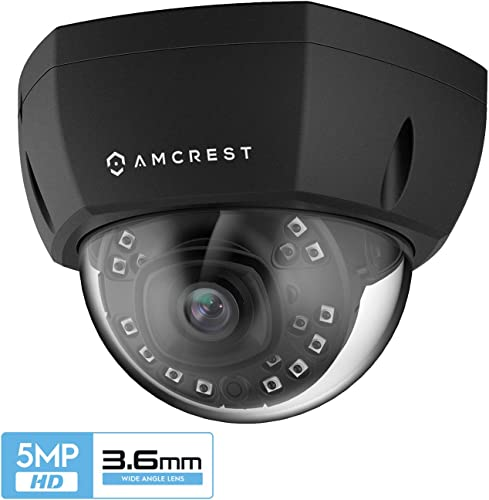 Amcrest 5MP Outdoor PoE IP Camera, UltraHD Security Camera, 3.6mm Lens, IP67 Weatherproof Security, Cloud and MicroSD Recording, IP5M-1176EB-36MM Black
