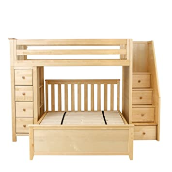 plank u0026 beam staircase combo loft bed dresser over fullsize bed natural