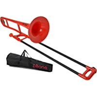 pBone Plastic Trombone with Mouthpiece and Bag - Red