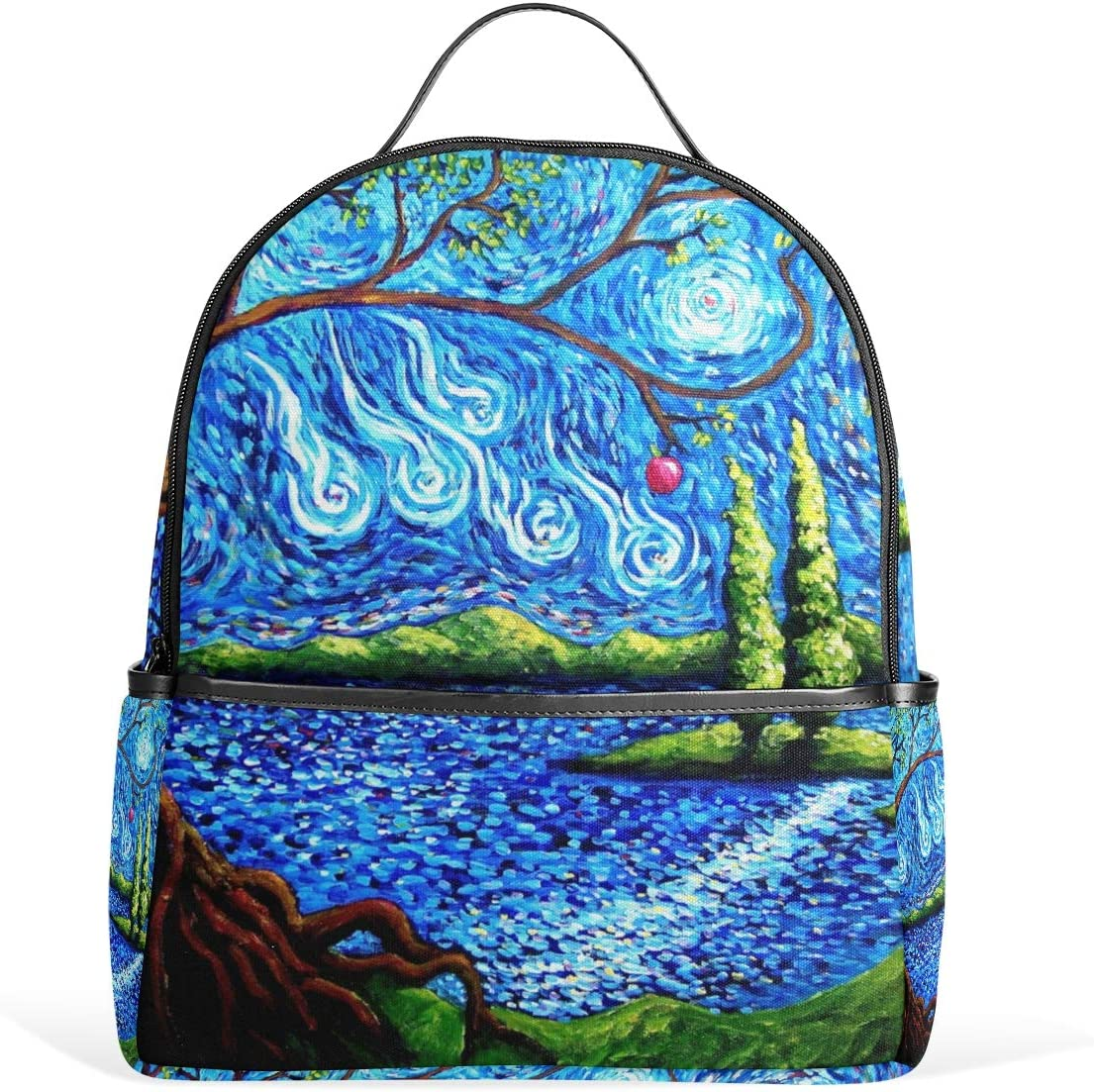ILEEY Art Abstract Watercolor Rainbow School Backpack Book Bag for Boys Girls and Kids