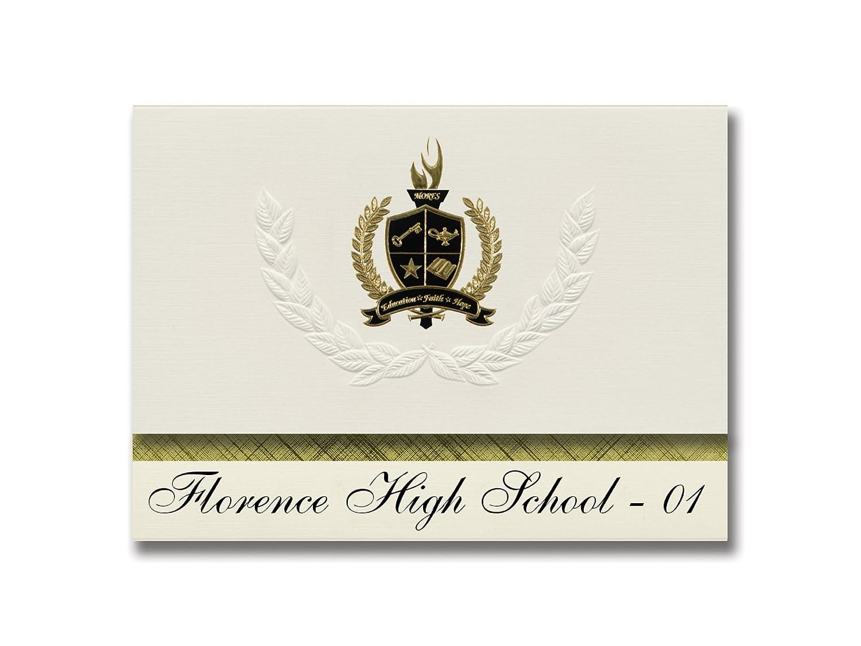 Signature Announcements Florence High School - 01 (Florenz, SD) Schulabschluss Ankündigungen, Präsidential-Stil, Grundpaket mit 25 Goldfarbenen und schwarzen metallischen Folienversiegelungen
