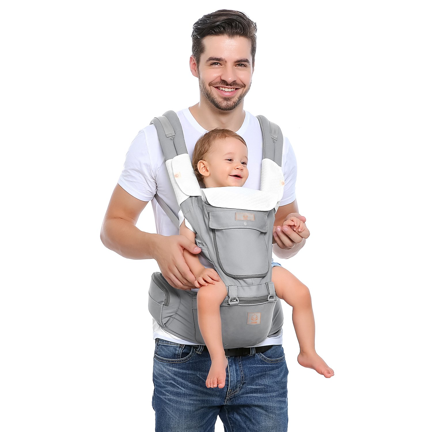 GAGAKU Baby Carrier with Hip Seat 8 Position Carrier Backpack for 0-36 Months Newborn Infant or Toddler with Organic Cotton Teething Pads and Detachable Hood by GAGAKU (Image #5)