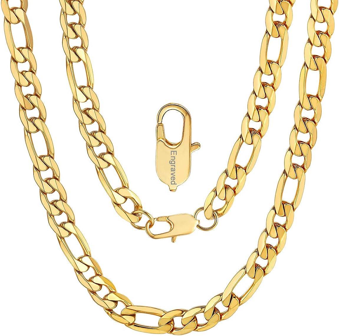 ChainsPro Cadena de Fígaro 3:1, Collar De Acero Inoxidable Dorado/Plateado/Negro para Hombre y Mujer, Joyería Moderno, 4/6/9/13 MM Ancho 46-76CM Largo (Ofrecer Servicio Grabado)