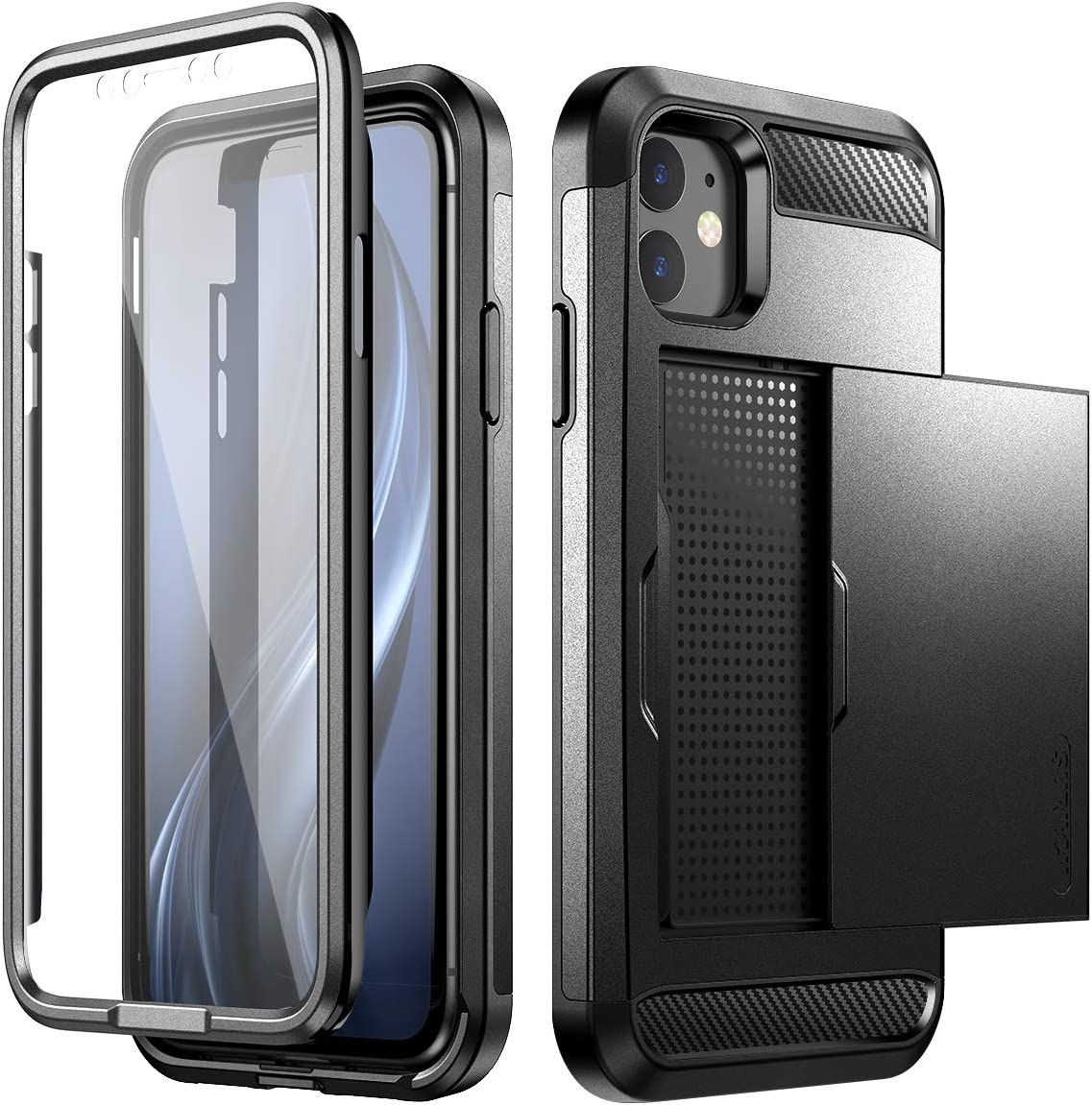 SURITCH iPhone 11 Wallet Case with Card Holder and Built-in Screen Protector Defender Shockproof Hybrid Dual Layer Hard PC + TPU Heavy Duty Protection Bumper Case for iPhone 11 6.1 inch Black