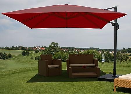 Burgundy Luxury Parasol Umbrella Parasol With Base 14 Feet