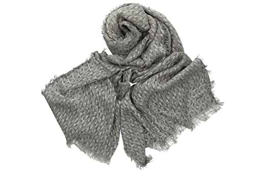 Sciarpa donna uomo PIERRE CARDIN con frange box regalo 100% acrilico grigio
