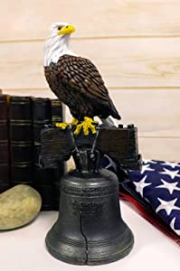 Ebros Independence Day American Patriotic Majestic Bald Eagle Perching On Liberty Bell Home Decor Figurine 4th of July America's Pride National Emblem Symbolic Home and Patio Accent
