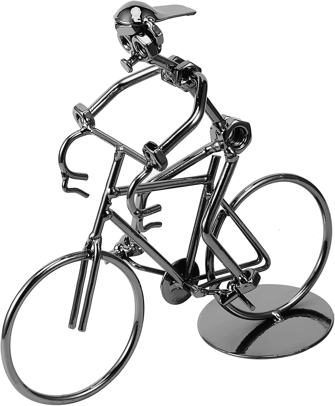 Lulonpon Vintage Iron Bicycle Model, Handcrafted Bike Model, Collectible Art for Bicycle Lovers Home Decor Ornaments or Office Vintage, Decorative Bicycle Model Great for Gifts (Metallic3)
