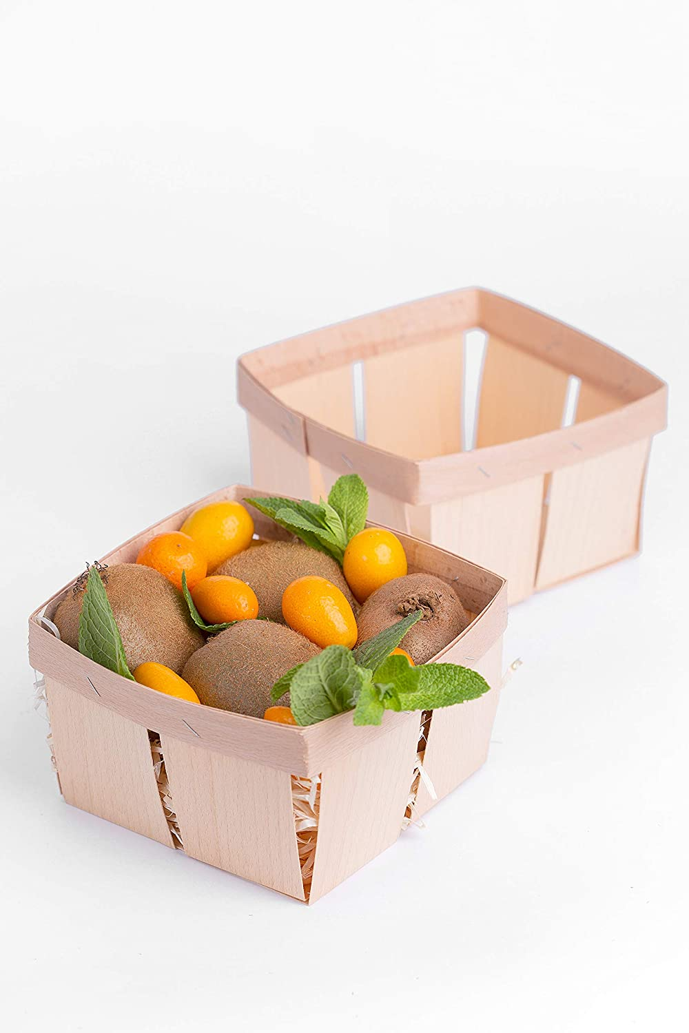 Wooden Berry Basket - Square Quart Vented Chipwood Picking Fruit and Berries Basket - Small Wood Baskets For Gifts Empty - Farmers Market Decor Containers - Pack Of 12