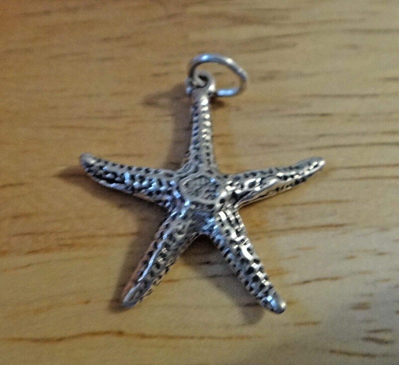 Fine Charms Sterling Silver 3D 23x23mm Starfish Seashell Shell Beach