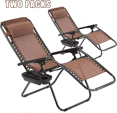 Vnewone Zero Gravity Chair Set of 2 Patio Folding Anti Reclining Lounge Deck Foldable Yard with Pillow and Cup Holder, Brown
