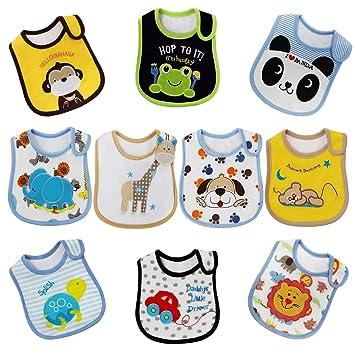 Wasserdichtes Lätzchen,Bauwolle,mit Klettverschluss,für baby 3-30 Monaten,12pcs