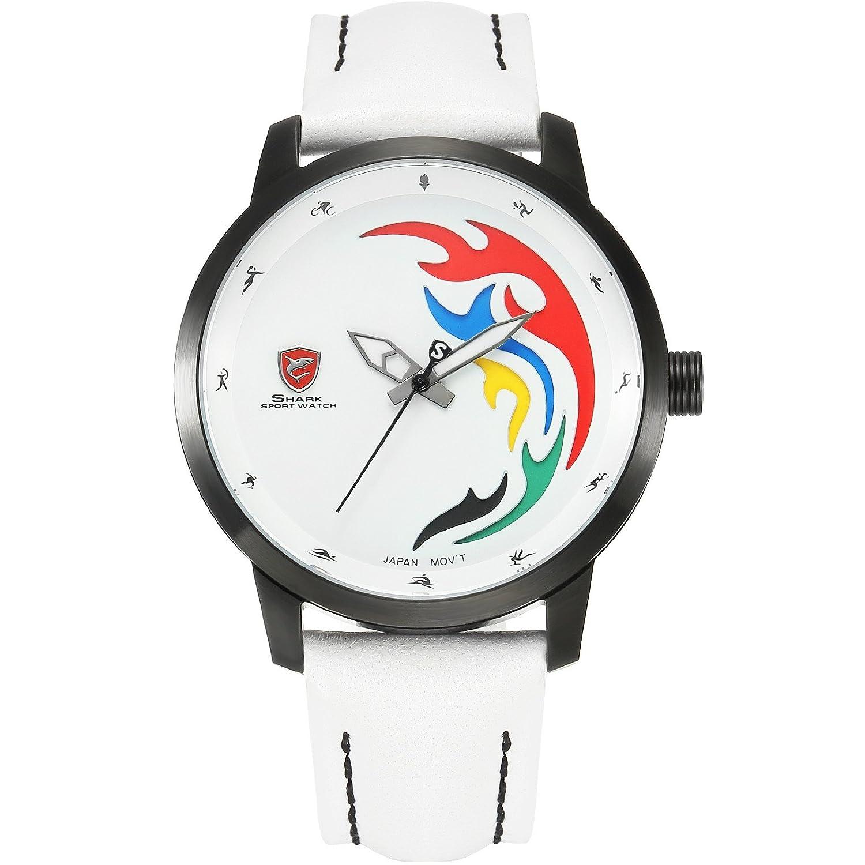 Shark Herren Armbanduhr Analog Quarz Limitierte Auflage Weiß Lederband