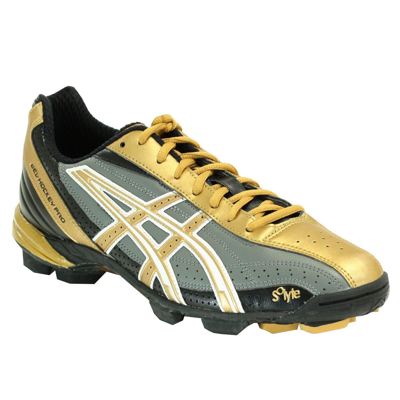 ASICS Men's GEL-Hockey Pro Field Shoe,Black/Gold/Storm,13 D US