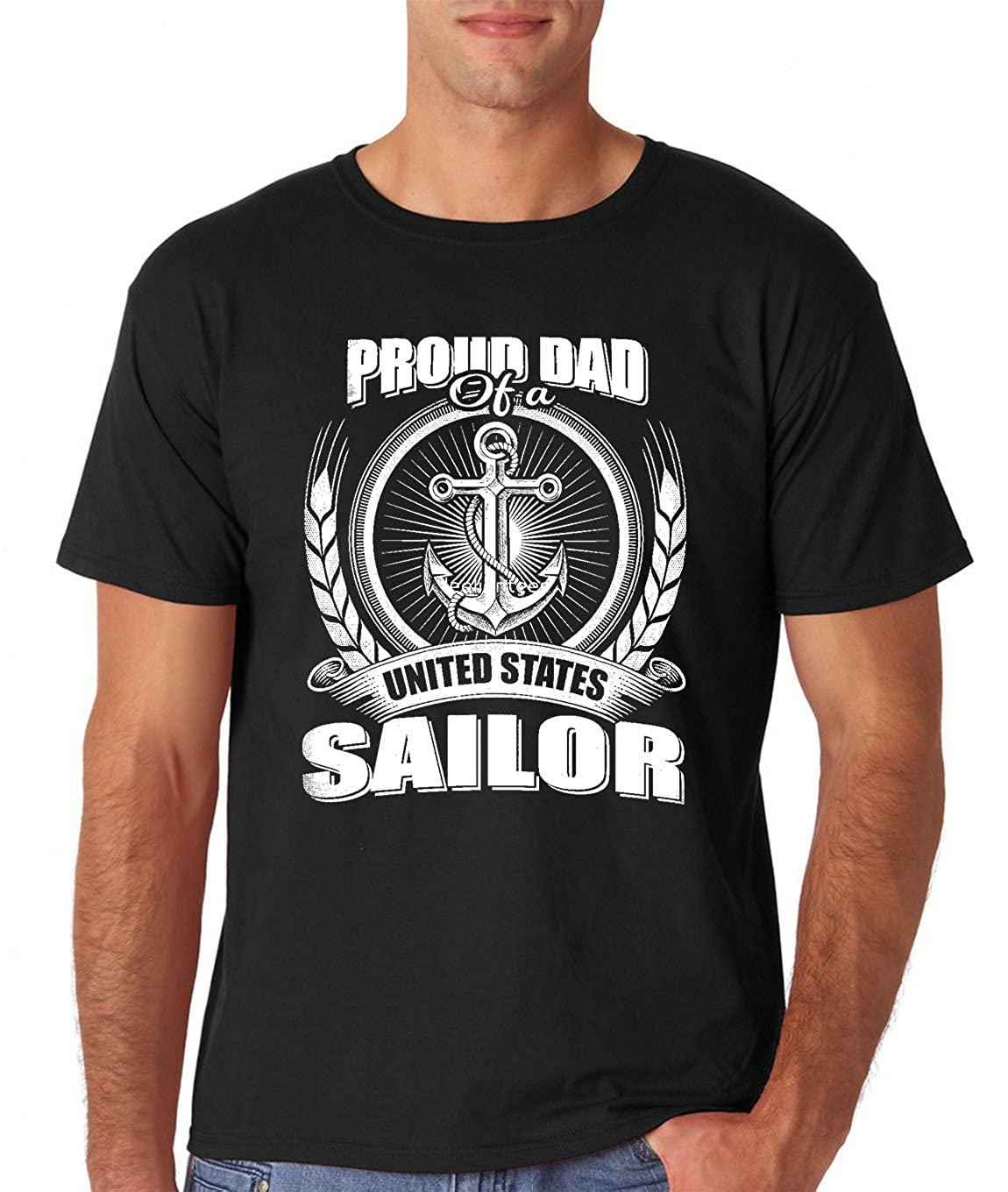 Amazon.com: AW Fashions Proud Dad of a United States Sailor Tee for Dads Birthday Mens T-Shirt: Clothing