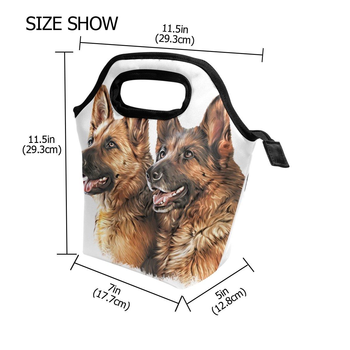 Coosun disegno cane pastore tedesco borsa da shopping borsa termica per il pranzo termica impermeabile pranzo borse in neoprene borsa con cerniera per esterni viaggi picnic