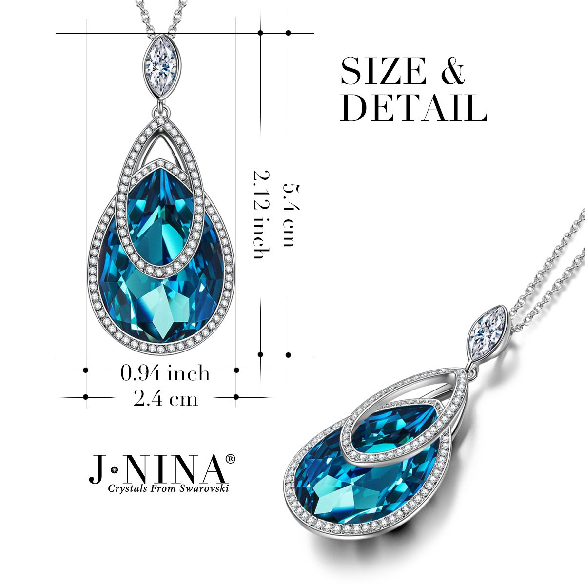 Amazon.com: J.NINA Swarovski Crystals Necklace -Christmas Jewelry Gifts for  Wife- Sapphire Dangle Pendant, Ideal Gift for Women: Jewelry