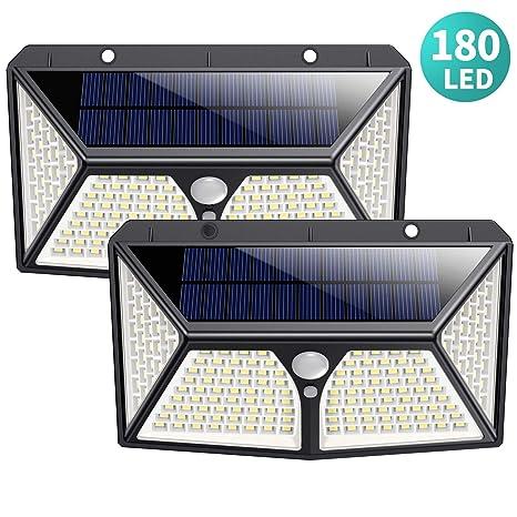 180 LED Luz Solar Exterior,HETP【2019 Versión de Ahorro Energía 】Luces Solares con Sensor de Movimiento Lámpara Solar Impermeable Iluminación Exterior ...