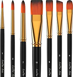 LorDac Arts Paint Brush Set, 7 Artist Brushes for Painting with Acrylic, Gouache, Oil and Watercolor. Professional Art Quality on Canvas, Wood, Face and Models. Includes Carrying Case Travel Kit