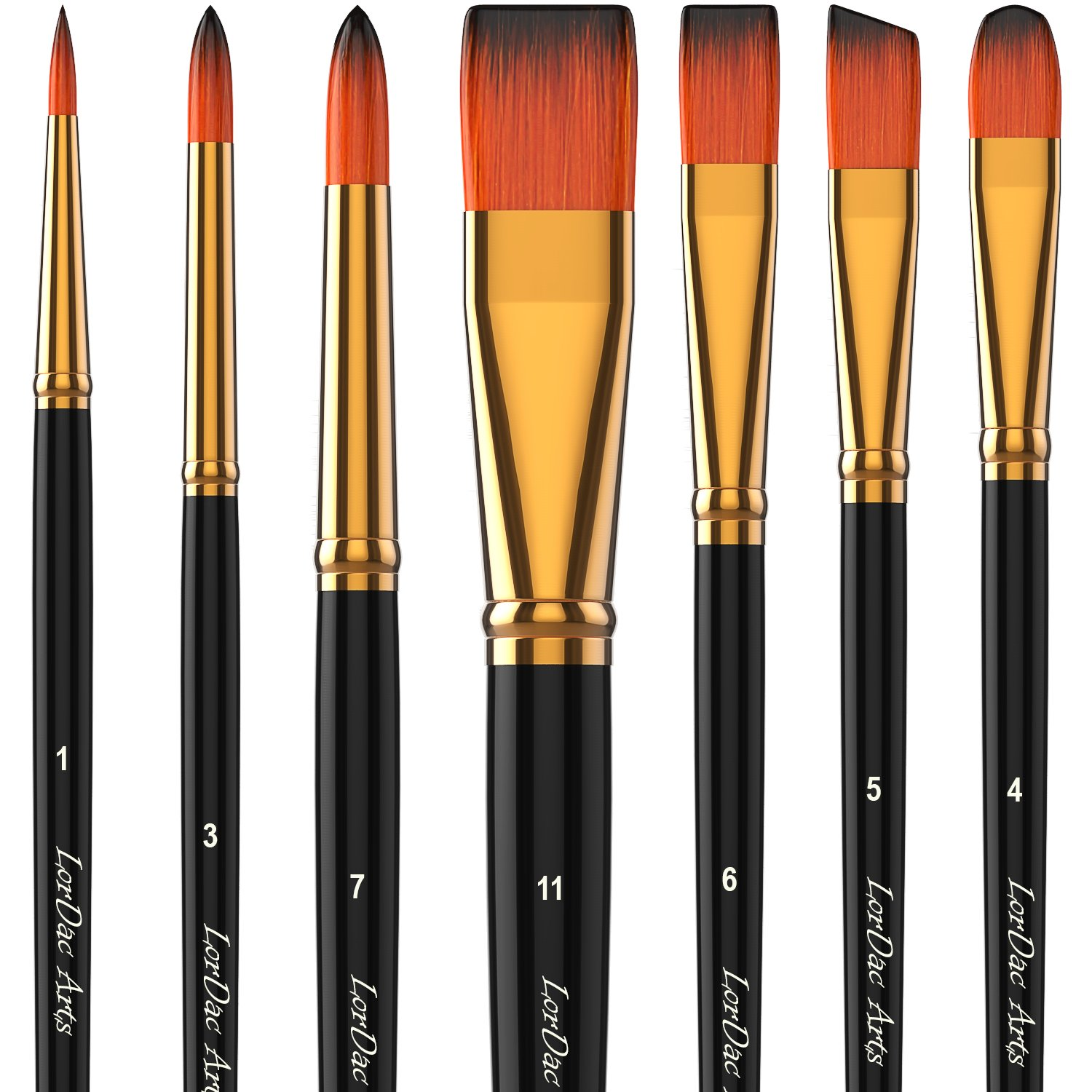 LorDac Arts Paint Brush Set, 7 Artist Brushes for Painting with Acrylic, Oil and Watercolor. Professional Art Quality on Canvas, Wood, Face and Models. Includes Carrying Case Travel Kit
