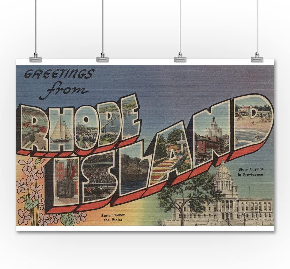 Greetings from Rhode Island State Capital//Flower 36x54 Giclee Gallery Print, Wall Decor Travel Poster