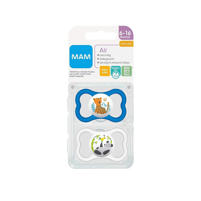 extra leichtes und luftiges Schilddesign MAM Air Latex Schnuller im 2er-Set zahnfreundlicher Baby Schnuller aus Naturkautschuk mit Schnullerbox MAM Schnuller 6-16 Monate blau
