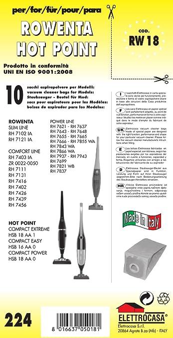 7 opinioni per RW 18 sacchetti per scopa elettrica confezione da 10 sacchi carta