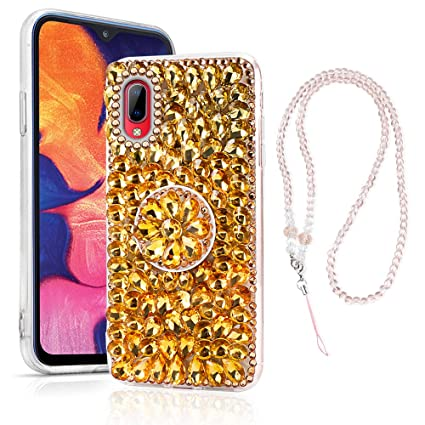 Samsung Galaxy A10 Case, Bling Glitter Luxury Rhinestone 3D Diamond Sparkly Handmade Crystal Cover Soft TPU Bumper Protective Cover for Samsung Galaxy ...