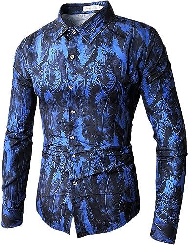 Qingduomao Hombre Camisa Estampada de Manga Larga Camisa de Pluma Ajustada: Amazon.es: Ropa y accesorios