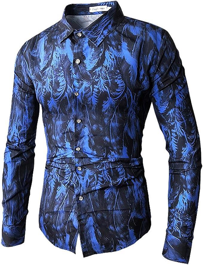 Qingduomao Hombre Camisa Estampada de Manga Larga Camisa de ...