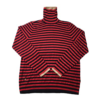 LAUREN RALPH LAUREN Women's Striped Turtleneck Sweater (Red/Polo Black, X-Large) at Women's Clothing store