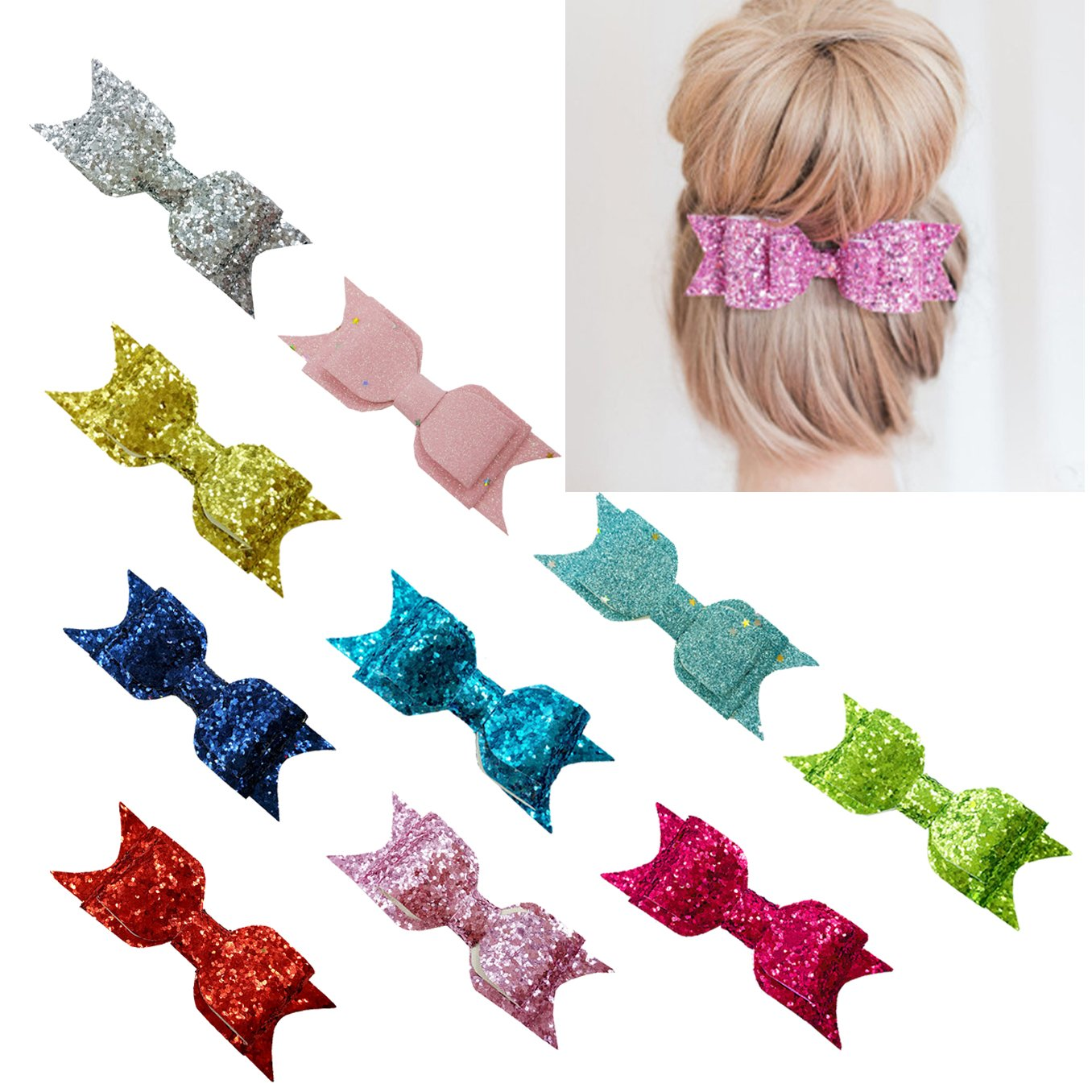 xsby Baby Girls Hair Accessories, 10pcs Sequins hair Bows Clip for baby Girls Hair Accessorie D