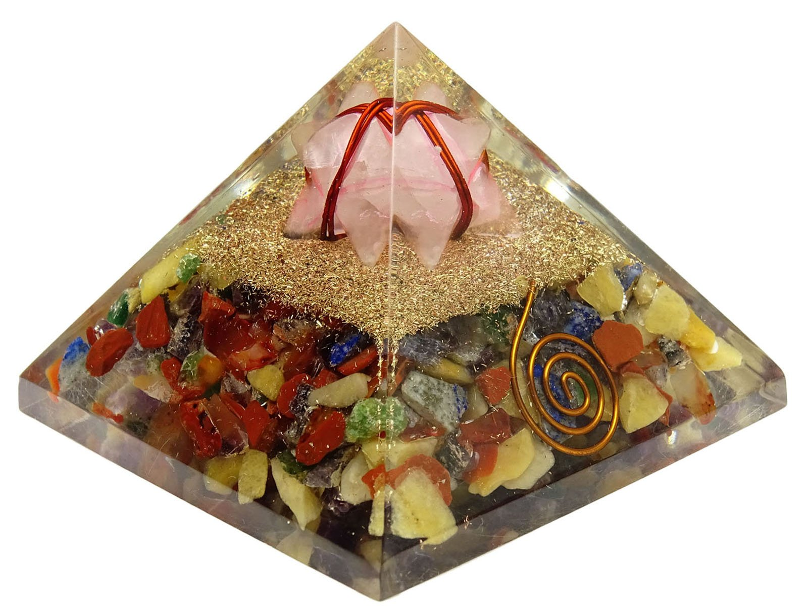 HARMONIZE Multistone Orgone Pyramid With Merkaba Gemstone Reiki Healing Crystal Chakra Energy Generator